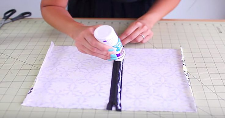 With just fabric, glue and a zipper, you can create a decorative bag that is perfect to take anywhere!