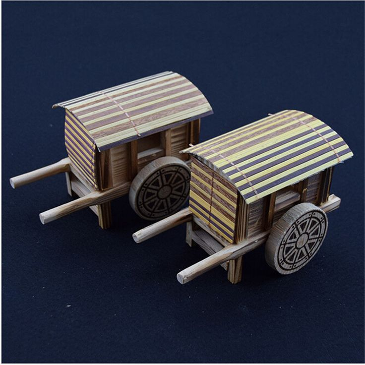 Miniature Imitation of Ancient Wooden Wagon Model Wooden scale model Small ornaments for home decorations