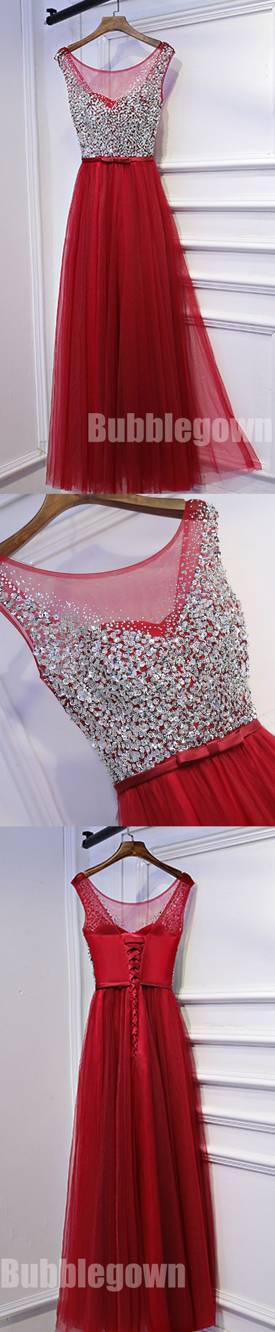 Red Tulle Formal Beaded Top Tie Up Back Cheap Long Prom Dresses, BGP009 #promdress #longpromdress #prom #dress