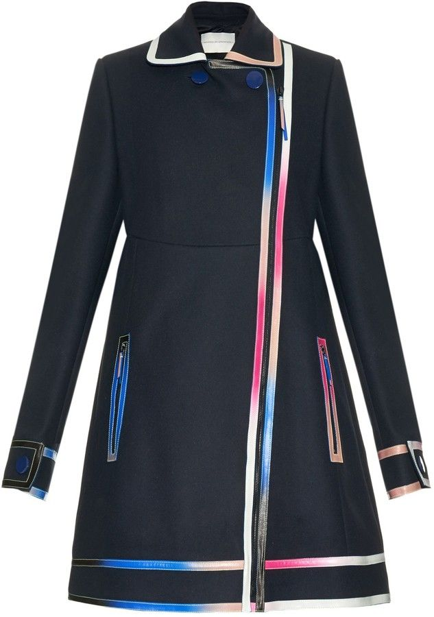 MARCO DE VINCENZO Multicoloured-ombré leather-seams wool coat