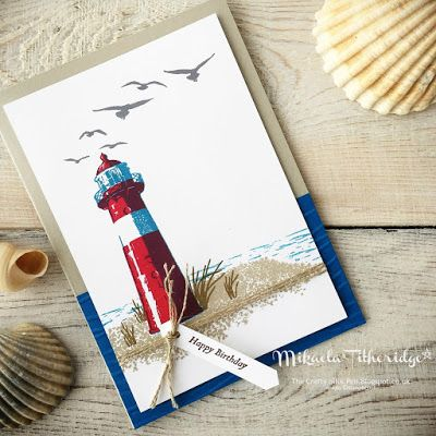 Mikaela Titheridge, Independent Stampin' Up! Demonstrator, The Crafty oINK Pen: High Tide Birthday Card with Seaside Embossing Folder. Supplies listed and available through my online store.