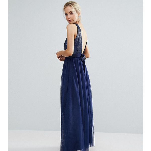 Little Mistress Petite Allover Sequin Bow Back Tulle Prom Maxi Dress (100 AUD) ❤ liked on Polyvore featuring dresses, navy, petite, petite maxi dresses, navy blue prom dresses, navy blue cocktail dress, petite prom dresses and sequin cocktail dresses