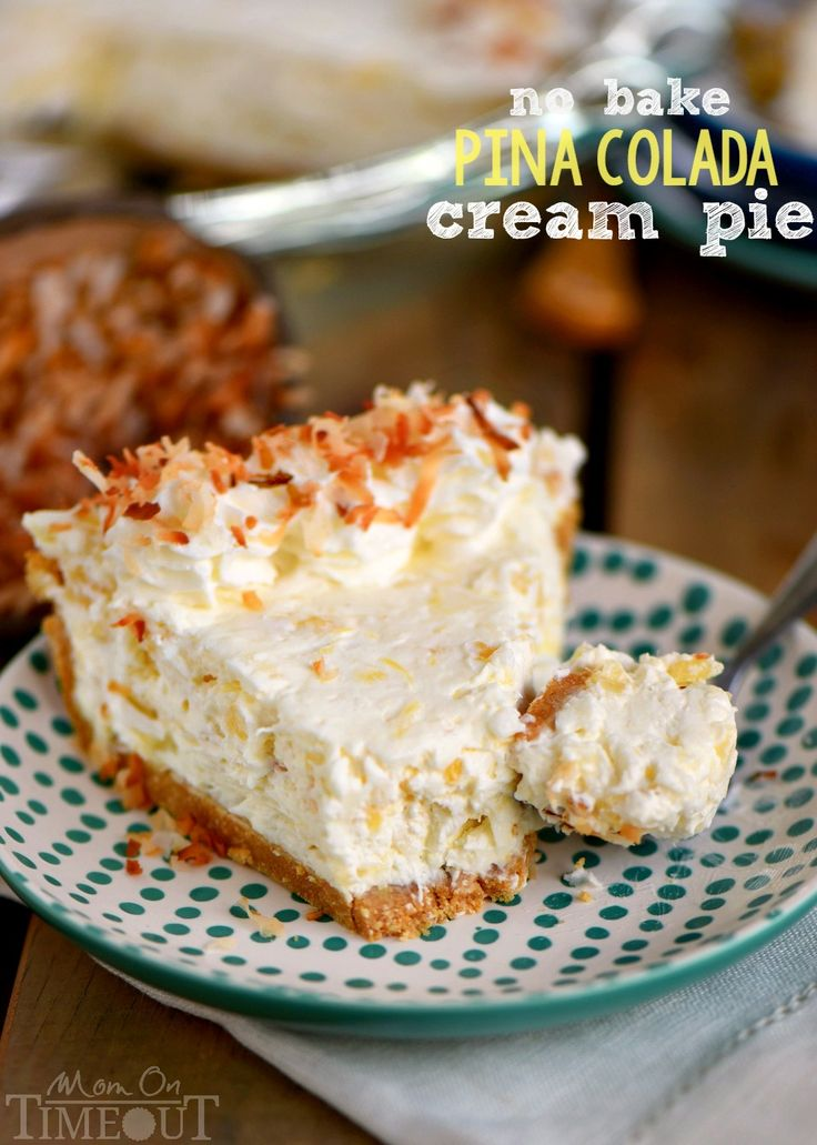 If you like drinking pina coladas...you're going to love this No Bake Pina Colada Cream Pie! It's absolutely the EASIEST pie and it tastes amazing!