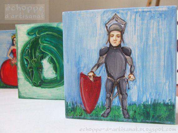 Knigth oil painting by EchoppedArtisanat on Etsy, $80.00