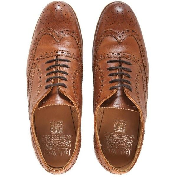Jack Wills Glenthorne Brogues (£79) ❤ liked on Polyvore featuring shoes, oxfords, flats, zapatos, tan, tan leather oxfords, flat shoes, flat pumps, leather flats and tan oxfords