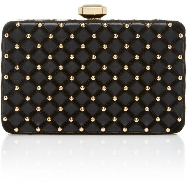 Elie Saab     Studded Clutch (7.730 BRL) ❤ liked on Polyvore featuring bags, handbags, clutches, black, studded clutches, chain-strap handbags, embroidered handbags, elie saab and studded purse