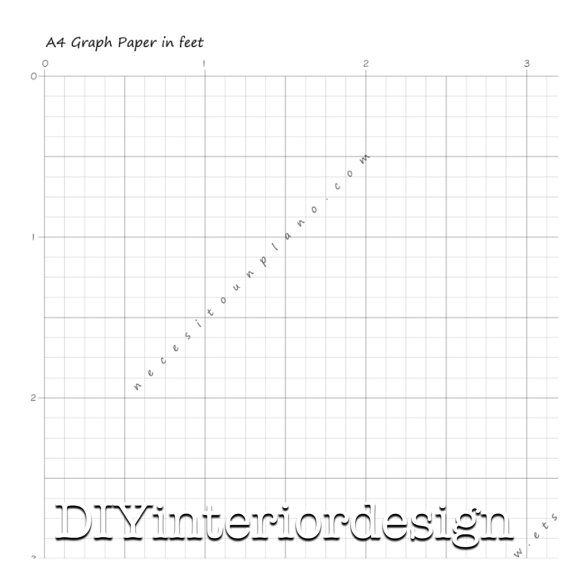 Graph Paper Template Grid IN FEET A4 DIY Floor Plan For