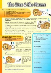 English worksheet: The Lion and the Mouse (Fable). Reading Comprehension, Vocabulary Exercises w Solutions