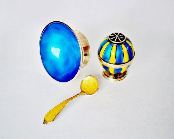 Sterling Silver Blue Yellow Guilloche Enamel Open Salt Cellar, Salt Spoon, Shaker ~ Mix n' Match Lot ~ Andersen, Rasmussen, Thune, Avanti ~