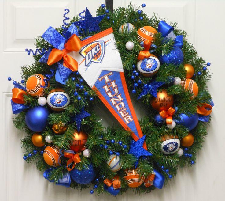 OKLAHOMA CITY THUNDER Basketball Wreath Trademark Pennant Ornaments Custom  All Season Wreath. $130.00,