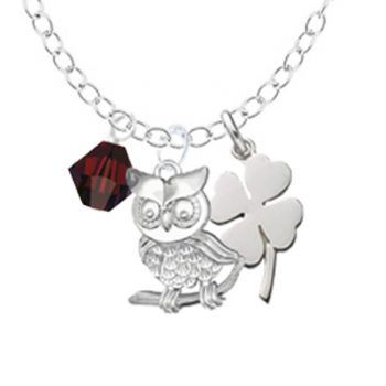 A beautifully delicate sterling silver chain with an elegant sterling silver owl charm paired with a stylish 4 leaf clover charm. Add a Swarovski crystal in your birthstone colour.