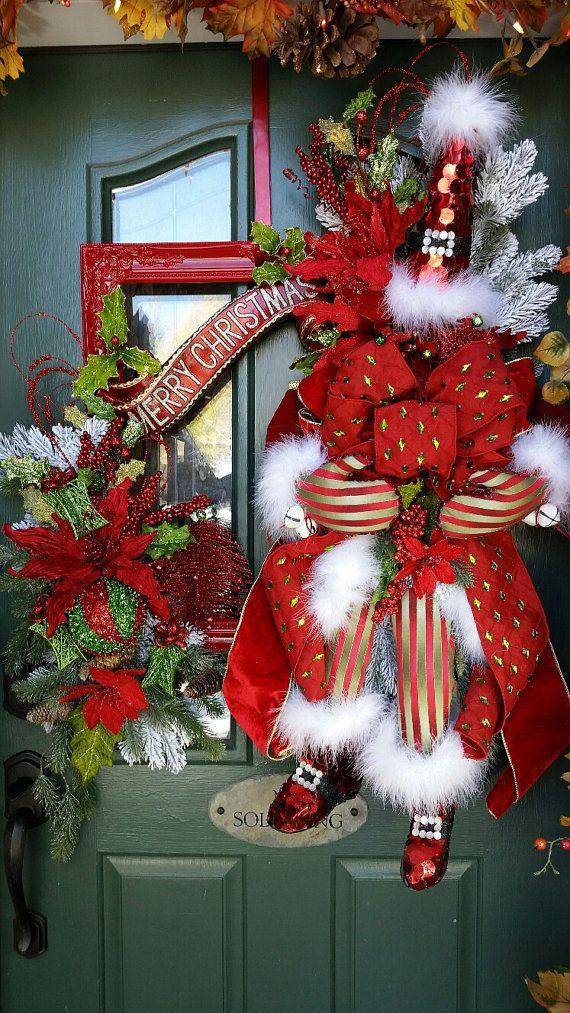 Santa Claus Wreath Christmas Wreath Santa Merry by FrontDoorWhimsy