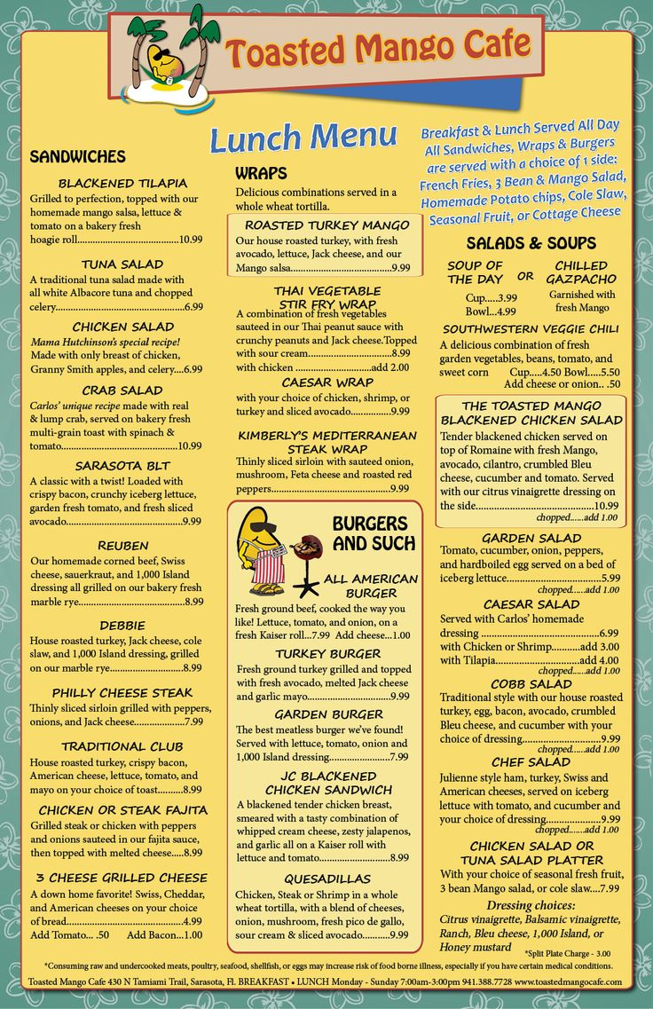 Toasted Mango Cafe Sarasota Menu