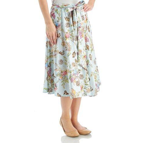 Print Skirt with Tie Sash