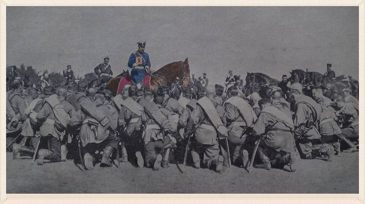 Tsar Nicholas II blesses soldiers leaving for the Russo-Japanese war in 1905
