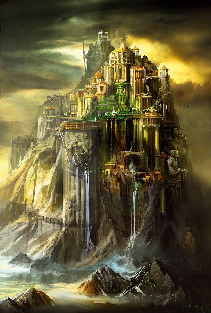 """Mount Olympus from """"God of War""""concept art"""