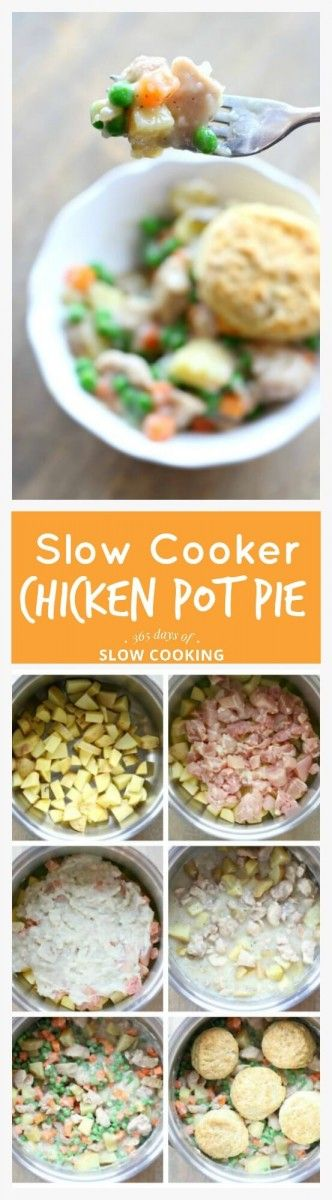Easy and creamy slow cooker chicken pot pie recipe with tender pieces of chicken, chunks of yellow potato and peas and carrots