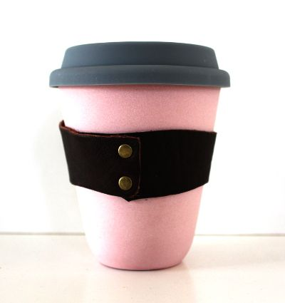 Blush pink ceramic terraCUP. Reusable coffee cup. Zero waste.