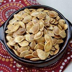 Roasted Pumpkin Seeds - Allrecipes.com - soak the seeds in salt water first