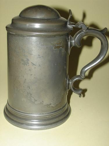 English Pewter Tankard Hinged Lid 19th Century Old