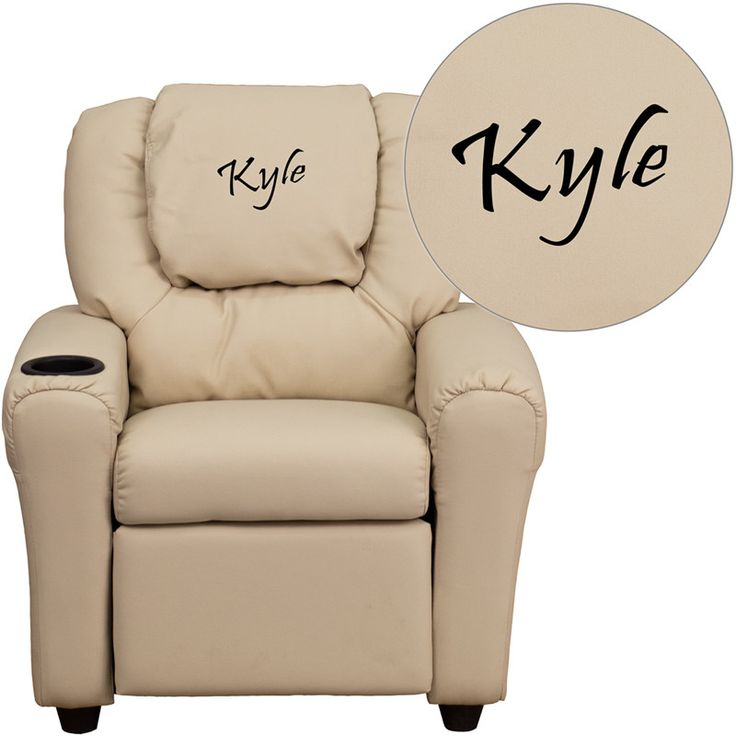 Flash Furniture DG-ULT-KID-BGE-EMB-GG Personalized Beige Vinyl Kids Recliner with Cup Holder and Headrest