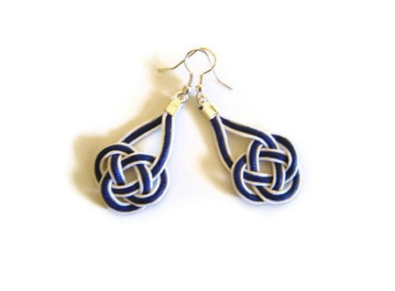 Nautical Earrings Macrame Sailor Knot Celtic White By Bmaja 13 00 Christmas In July Pinterest Knots And Navy