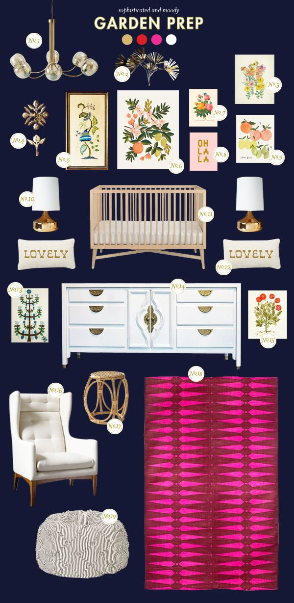 How cute is this Garden Prep nursery inspiration board by @Joni Lay / Lay Baby Lay? Read more from Style Spotters: http://www.bhg.com/blogs/better-homes-and-gardens-style-blog/