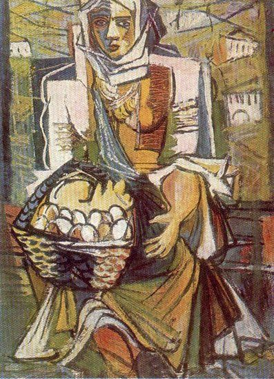https://flic.kr/p/amJ5BN | Iancu, Marcel (1895-1984) - Peasant with Eggs (National Museum of Romania, Bucharest) | Marcel Iancu is remembered today as one of the most important Dada artists of Jewish-Romanian origin, a close friend to Tristan Tzara and one of the most interesting and original artists of the last century. Very much in touch with European art and experiments, mixing Romanian traditions, Jewish identity and avantgarde techniques and themes, Marcel Iancu was a painter, architect…