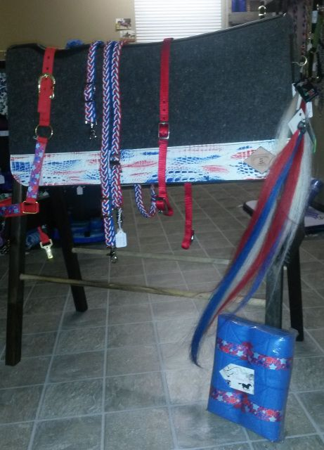 Ultimate red, white, and blue tack set.  Perfect for the 4th of July holiday as well as any parade or rodeo all year long.  Pieces by WhinneyWear, Gypsy Tails, and Schneiders Performance pads