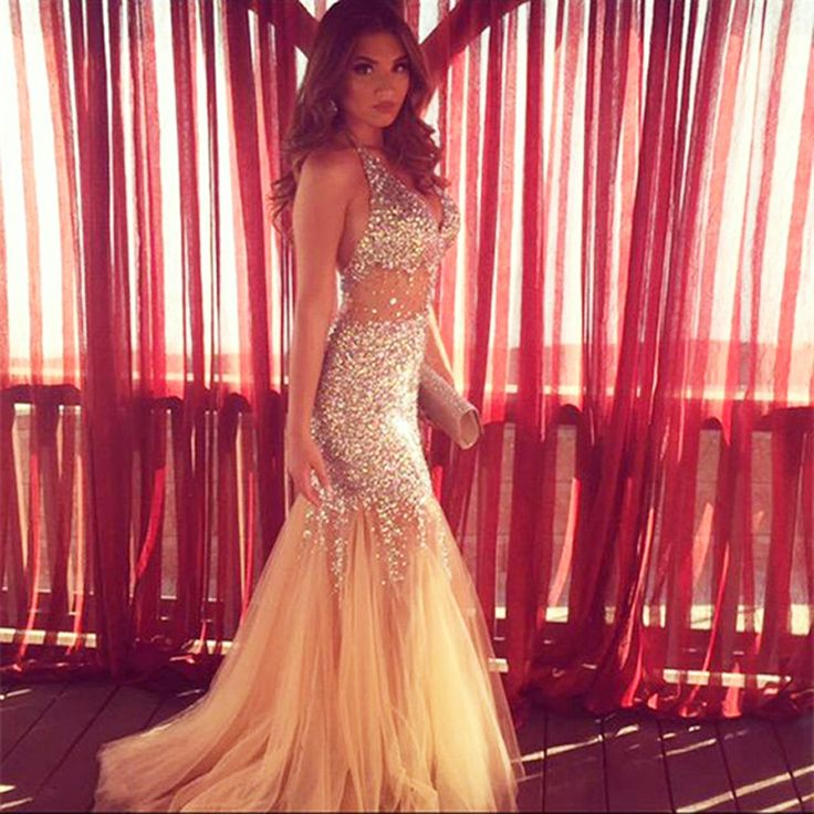 2016 Champagne Mermaid Prom Dresses Long Luxury V Neck Tulle Crystal Evening Party Dress Cheap Formal Gown-in Prom Dresses from Weddings & Events on Aliexpress.com | Alibaba Group