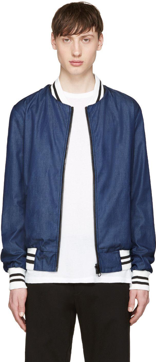 GIULIANO FUJIWARA BLUE REVERSIBLE BOMBER JACKET. #giulianofujiwara #cloth #jacket
