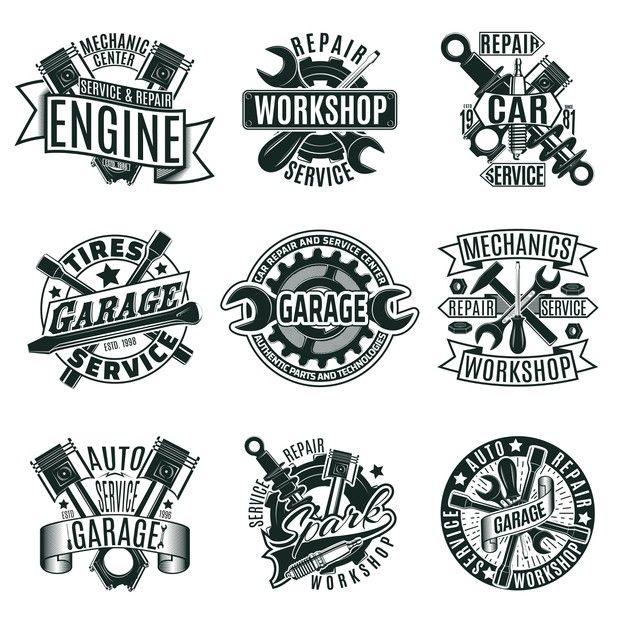 Download Monochrome Car Repair Service Logos Set For Free Car Repair Service Garage Logo Mechanics Logo