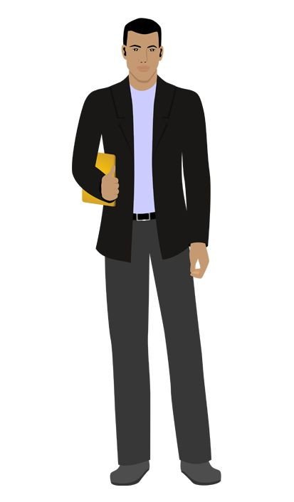 Charles - customized African-American illustration for eLearning with Captivate, Camtasia, and Storyline.