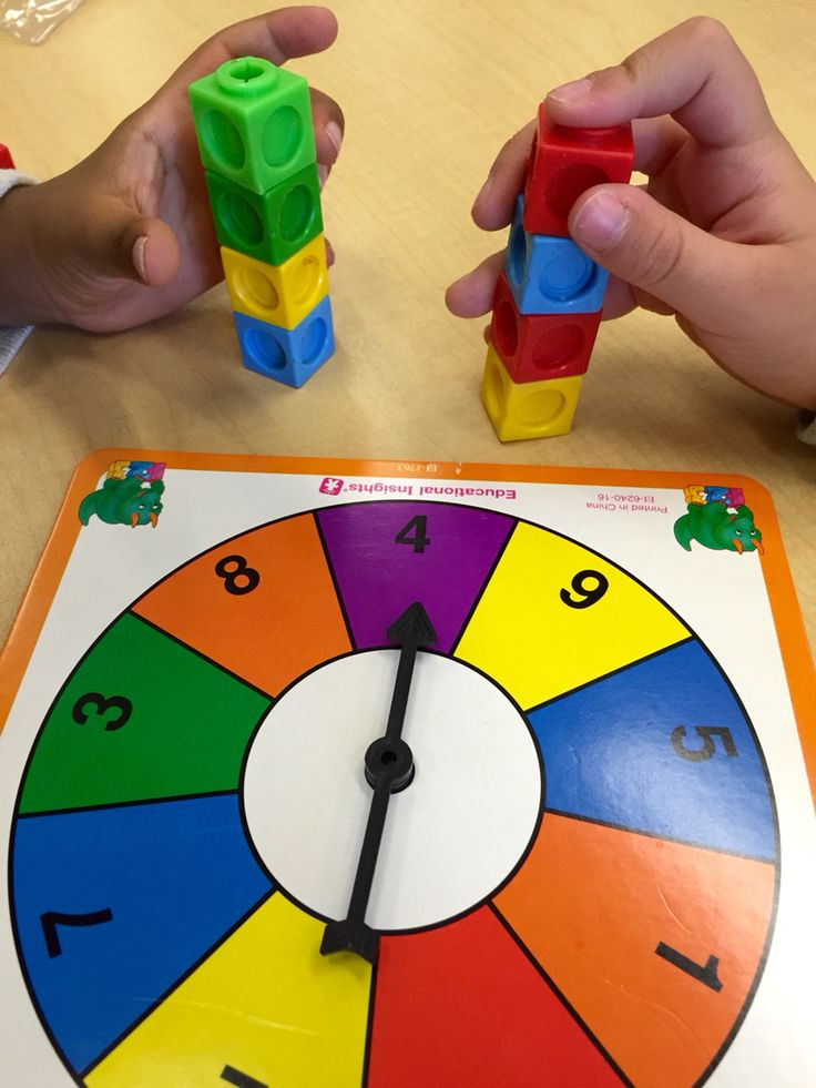 Kindergarten math game. Spin the wheel and stack the correct ...