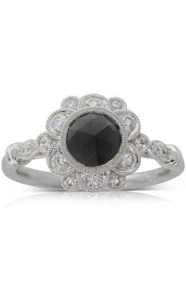 18ct white gold .89ct black diamond ring