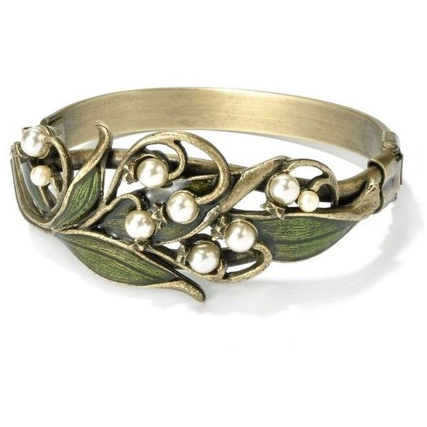 Sweet Romance Lily of the Valley Art Nouveau Pearl Flower Bracelet ($50) ❤ liked on Polyvore featuring jewelry, bracelets, art nouveau jewelry, green jewelry, art nouveau jewellery, leaf jewelry and flower jewelry