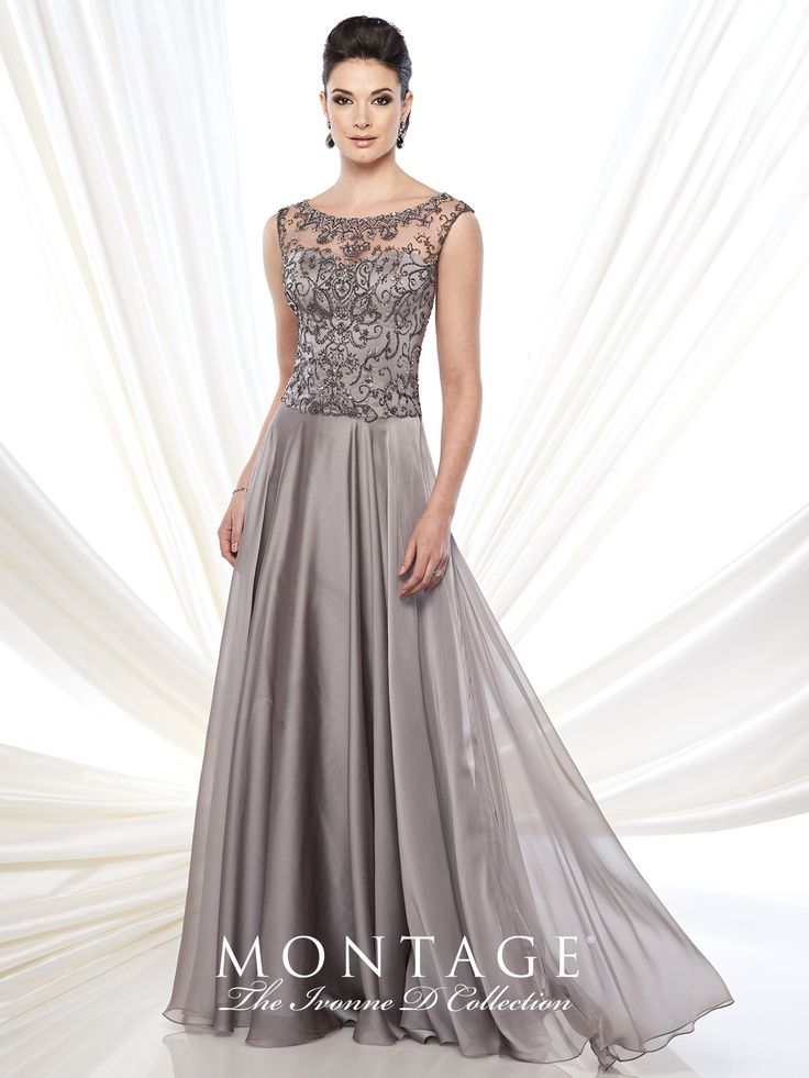 Ivonne D Exclusively for Mon Cheri - 215D12 -     Two-tone chiffon full A-line gown with hand-beaded slight cap sleeves and bateau neckline, sweetheart bodice, beaded illusion back, sweep train.  Sizes: 4 – 20, 16W – 26W      Colors: Light Copper, Pewter
