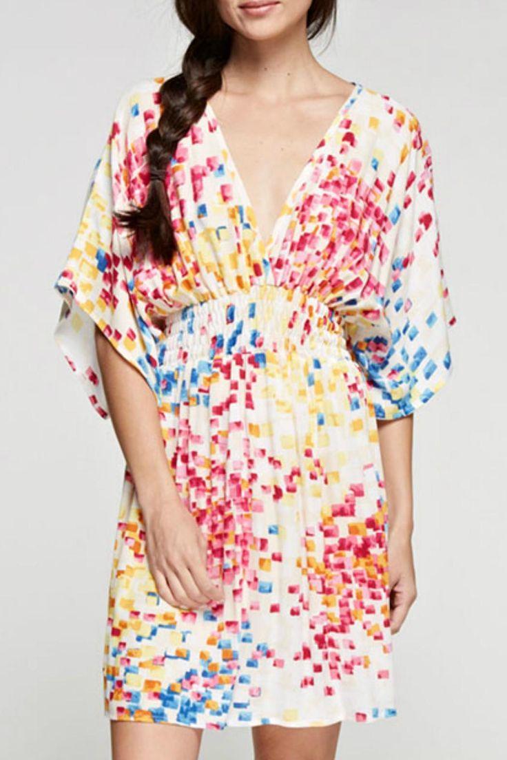 Rayon gauze festive tile print kimono sleeve, empire waist mini dress.   Festive Denim Dress by Denim Spot. Clothing - Dresses California