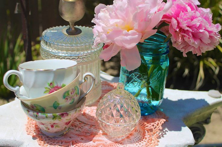 bridal shower, teacups, mason jars, vintage, lauren sharon vintage rentals