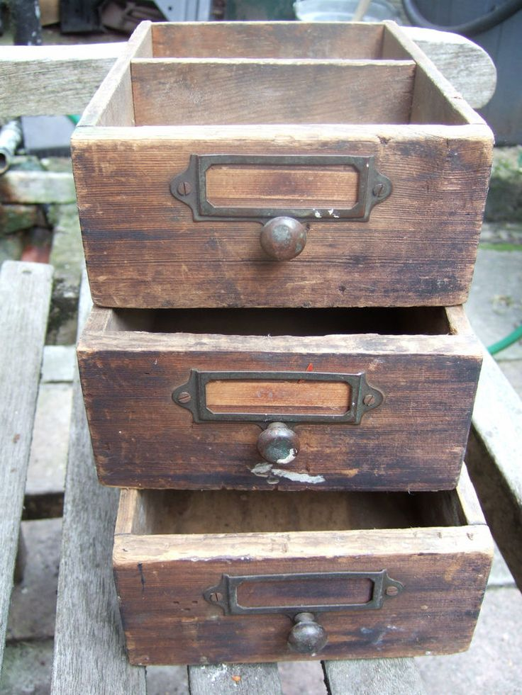 3 antique vintage wooden small desk drawers boxes - shop market stall displays