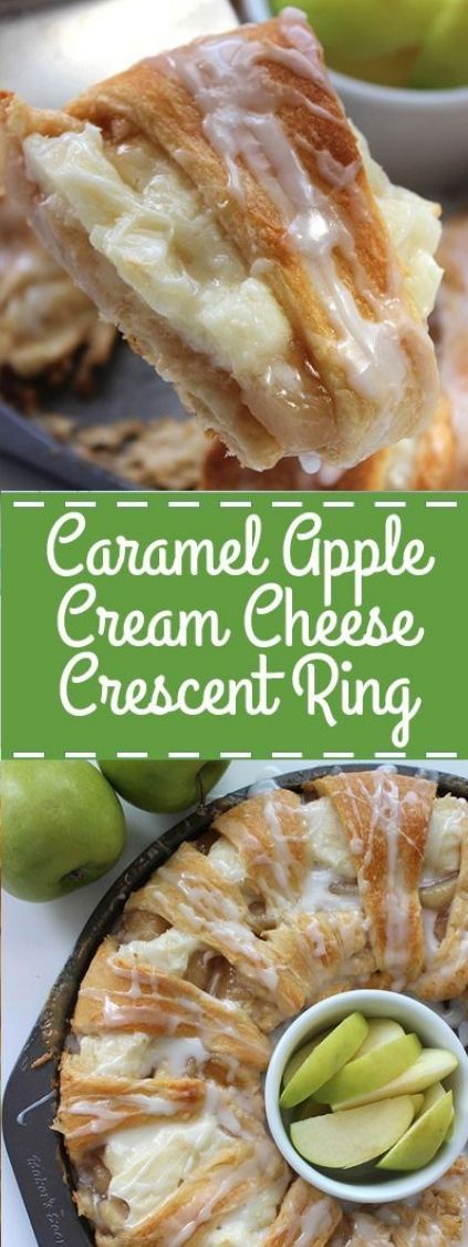 Caramel Apple Cream Cheese Crescent Ring - This ring will feed quite a bunch of people. So it will be great for all your fall gatherings.