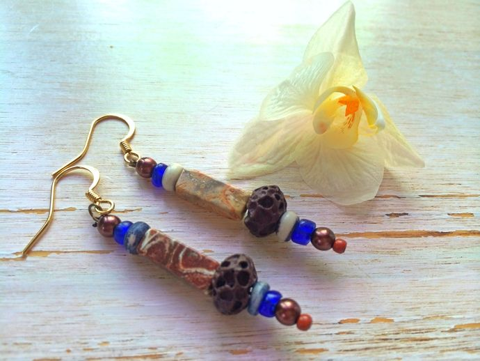 Earthy Dangle Earrings - Jeans Boho Gypsy - Landscape Jasper , Lava  by BatyaHavDesign, $17.00 USD