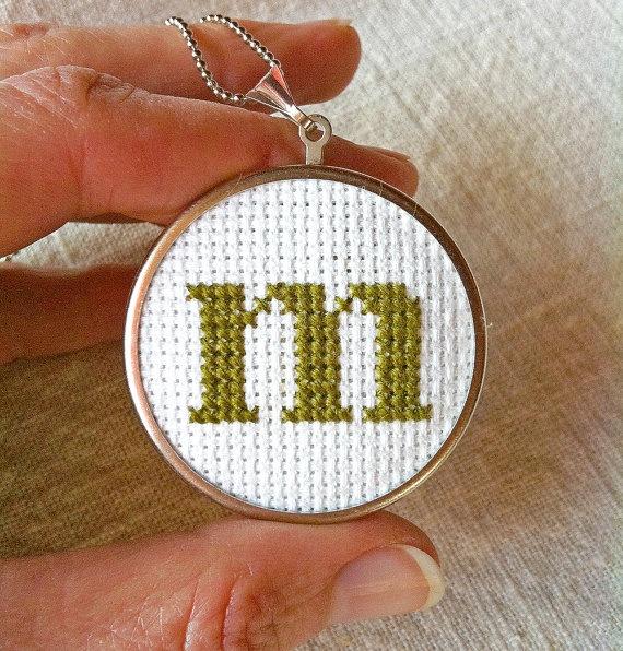 Cross stitch monogram pendant complete KIT - beginner cross stitch DIY mini sampler necklace. $13.50, via Etsy.