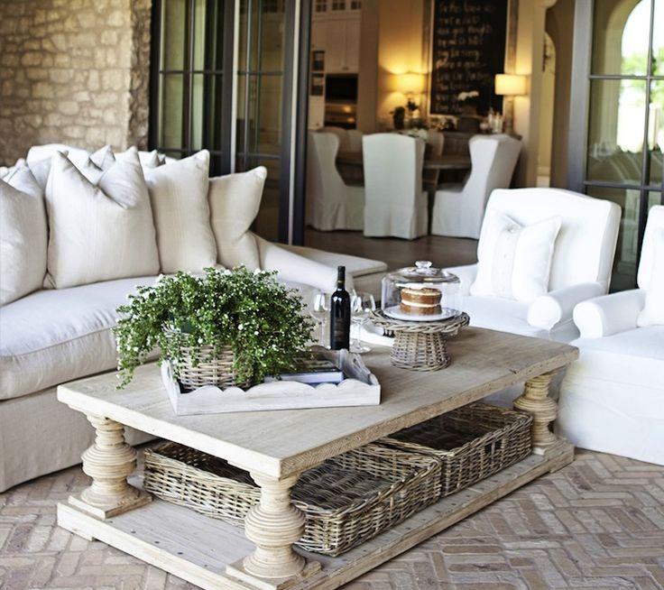 Suzie: FOUND - Chic patio with brick pavement in herringbone pattern, linen slipover sofa with ...