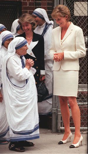 PRINCESS DIANA AND MOTHER TERESA  After visiting Mother Teresa's Hospice for the Sick and Dying in India in February 1992, Diana traveled to Rome and New York where she reconnected with the Catholic saint and formed a strong bond based on their charitable efforts. They often collaborated on their many charitable projects.