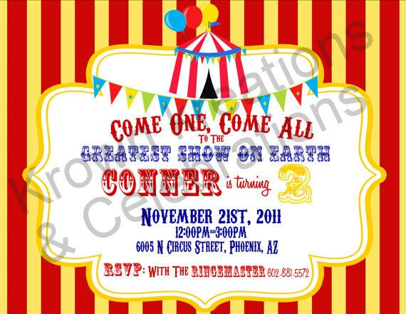 108 best Lucas 1 images on Pinterest Circus party, Circus theme - circus party invitation