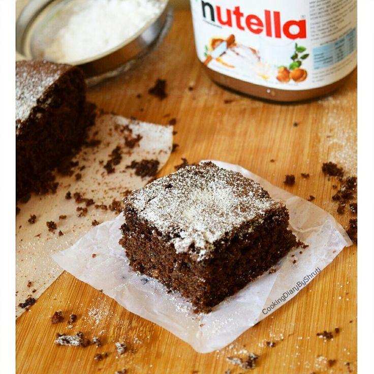 Eggles Nutella Brownies. #Eggless #Dessert #Brownies #Nutella