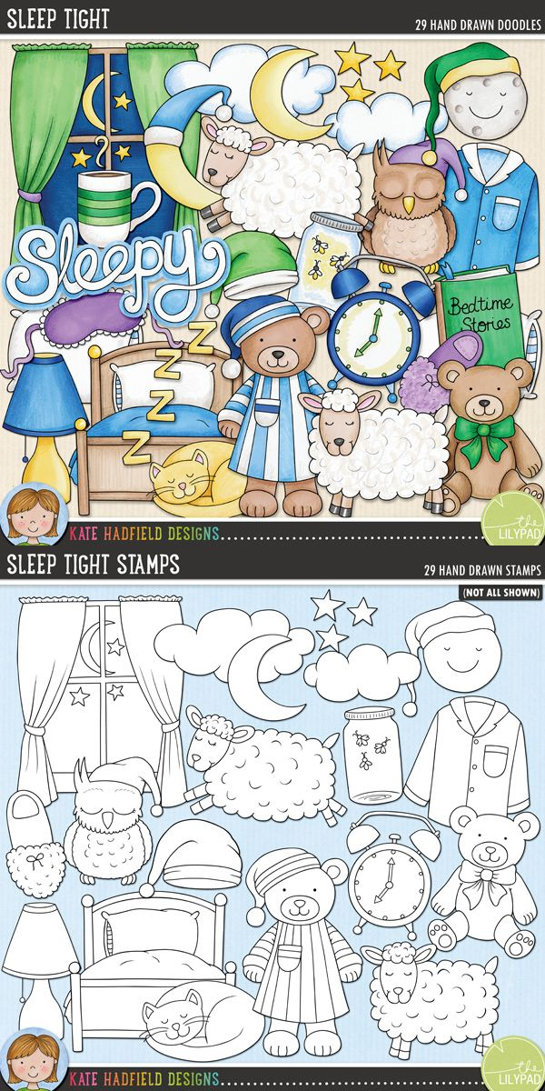 Bedtime digital scrapbooking elements | Cute bedtime routine clip art | Hand-drawn illustrations for digital scrapbooking, crafting and teaching resources from Kate Hadfield Designs! Click through to see scrapbook pages created using these illustrations!