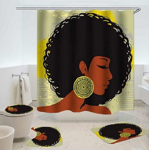 Black Woman With Afro Bathroom Shower Curtain Toilet Seat Cover