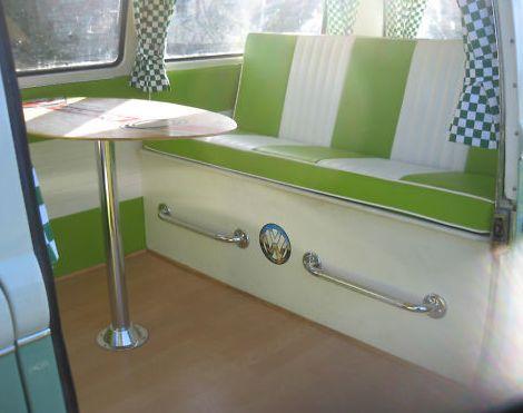 Vintage VW camper van. LOVE this dinette. Wonder how hard it'd be to do upholster in stripes??